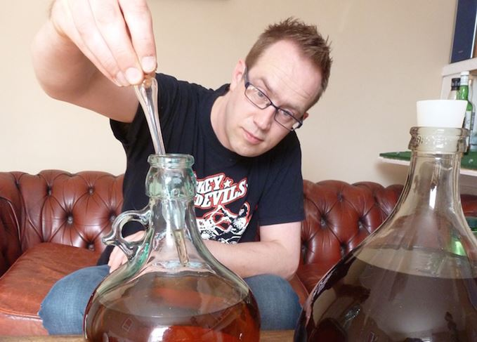 Tim Forbes blending whisky at home