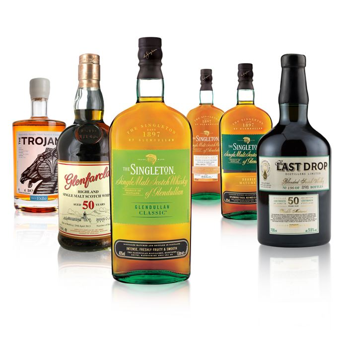 Two 50-year-olds from Glenfarclas and Last Drop, plus three Singleton of Glendullans and The Trojan.