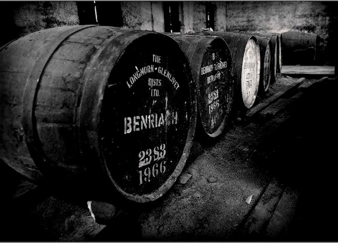 Maturing whisky at BenRiach distillery